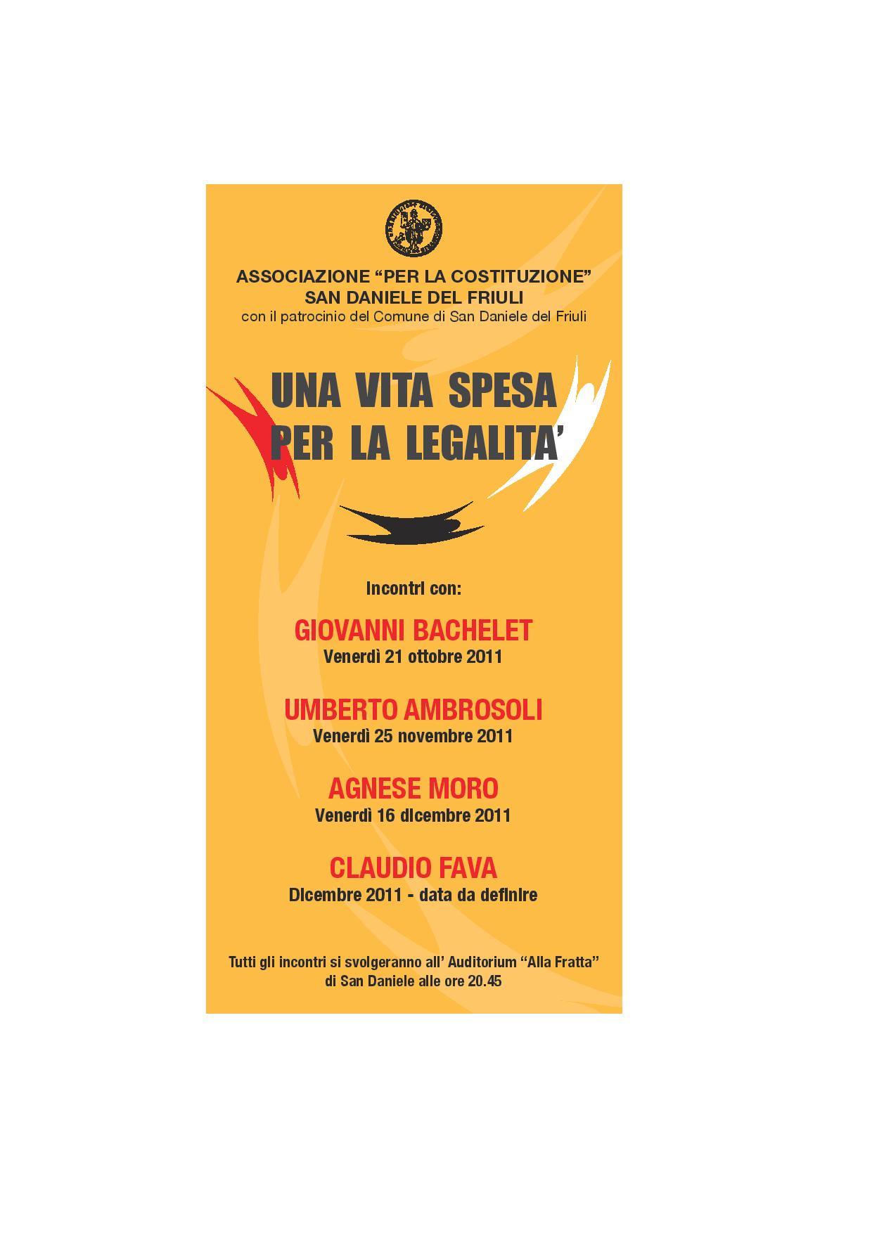 Locandina – Una Vita Spesa per la Legalità – 2011